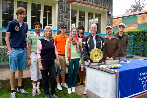 KIS student golfers with Principal, Adrian Moody, Alika Khosla, Admissions Officer, Steven Hawkin, HoD Learning Resources and Peter Case, Orchestra / Strings Teacher
