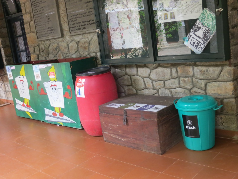 2.Recycle and waste bins in the Quad, for paper, cardboard, plastic, electronic waste with old batteries and print cartridges, and trash