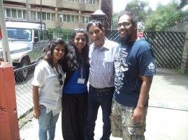 Jabez Uday Kumar '08 & Joanna Uday Kumar '05, Ankita Patrick '08 with Mr Kenny Samuel (Former staff)