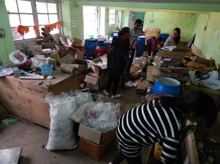students-sortng-in-our-recycling-center-below-sherwood-dorm